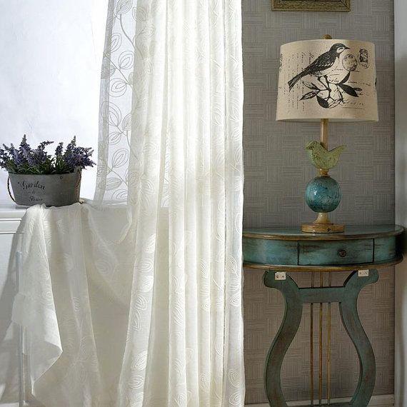 110 Width White Big Leaf Embroidery Fabric Lace Jacquard Semi