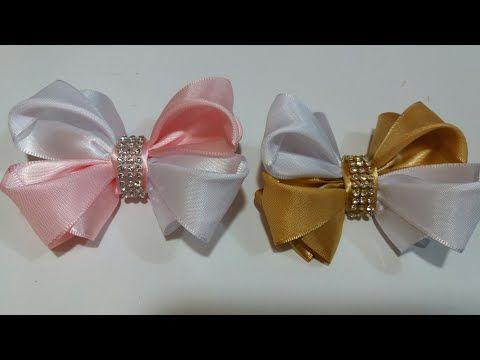 Moños pequeños de liston faciles ,how  Make A Hair Bow, grosgrain flowers tutorial - YouTube