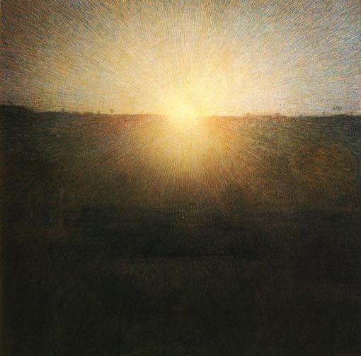 Pellizza da Volpedo, IL SOLE NASCENTE, 1904, olio su tela, cm. 155x155, Roma, Galleria Nazionale d'Arte Moderna