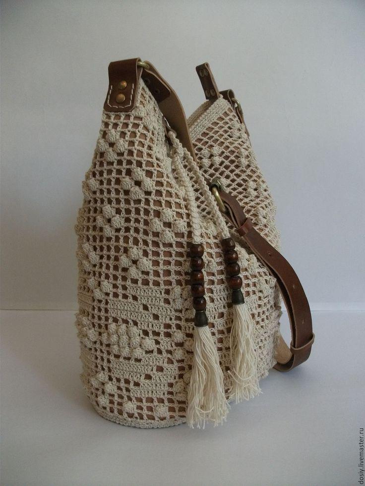 Купить вязаная сумка-торба, цвет: слоновая кость. - белый, однотонный, женская сумка