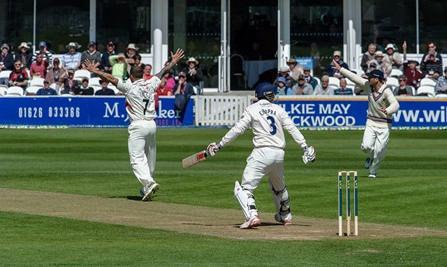 FYI: How's that. Varun Chopra, leg before wicket, bowled by Peter Trego in the Lv champsionship at Taunton.. © Mark… #ms_howzat #cricket