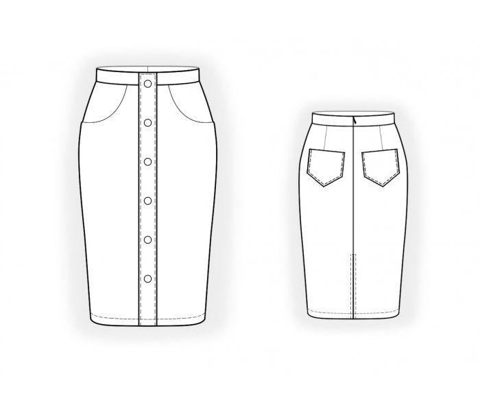 4721 - Patrón de costura #4721 Patrón de costura a medida de Lekala con descarga online gratuita. Entallado, Pinzas, Waist band, Botonadura, A media pierna, Falda recta, Bolsillos de parche, Bolsillos en la costura o rectos