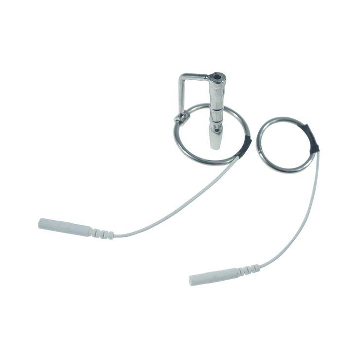 Długość 43mm wstrząs Elektryczny ze stali nierdzewnej cewki moczowej dźwięk z głową pierścień mężczyzna electro stimulation cewnik wtyczki penisa sex zabawki