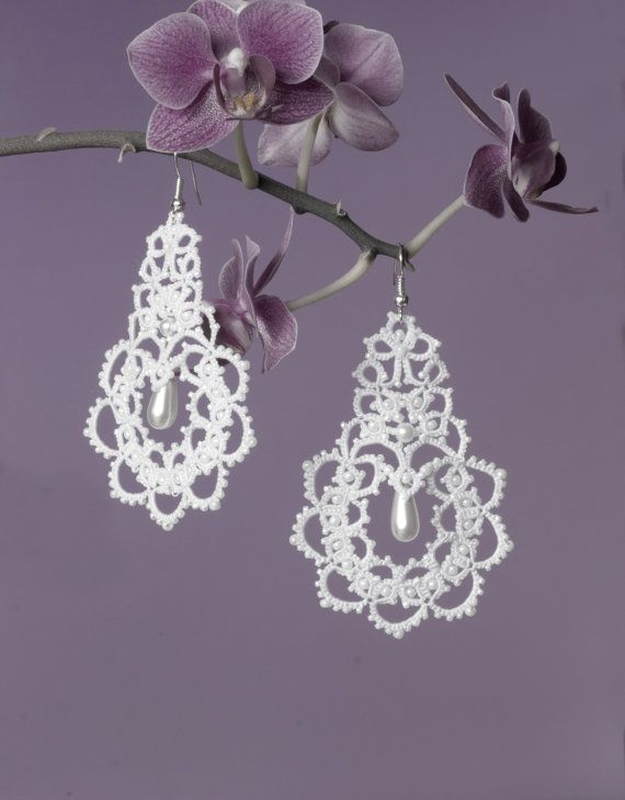 "by Maria Konoshenko, Bridal earrings ""The swan Princess"", tatted earrings, 8 cm L= 3.15 in., $49.90"