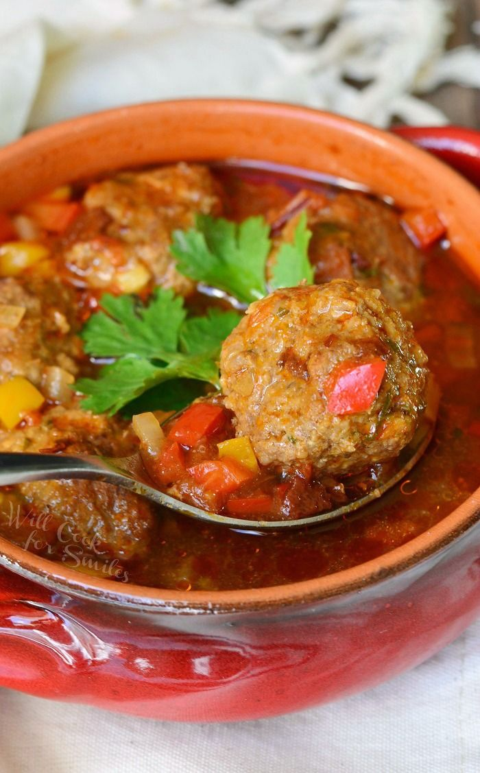 Mexican Meatballs Soup | from willcookforsmiles.com