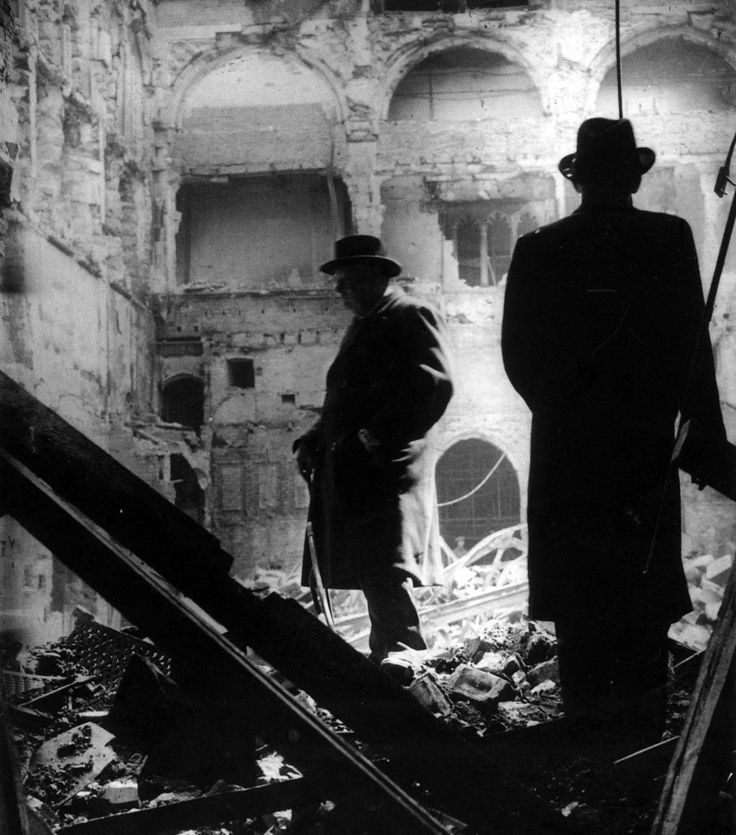 Winston Churchill, inspecting bomb damage in the House of Commons debating chamber on May 11, 1941.