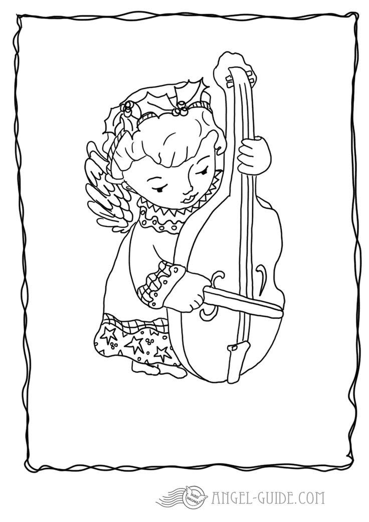 Christmas Angel Coloring Pages - Angel with String Instrument 3 A little angel carrying a rather large string instrument but joining in to the angel choir music for our german visitors : kostenlose Malvorlagen mit Engeln, Weihnachtsausmalbilder fuer Kinder zum Herunterladen Ausmalbild mit Engel zum Weihnachtsbasteln, Bastelvorlage, Engel Vorlage zum ausdrucken