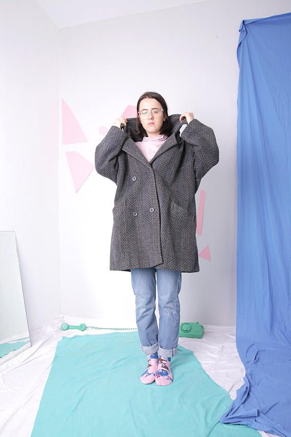 midi wool coat mid length gray winter coat minimal warm
