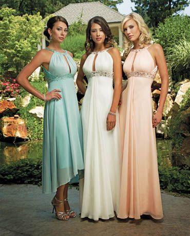 Diseño idénticos en distintos largos y colores para damas de honor