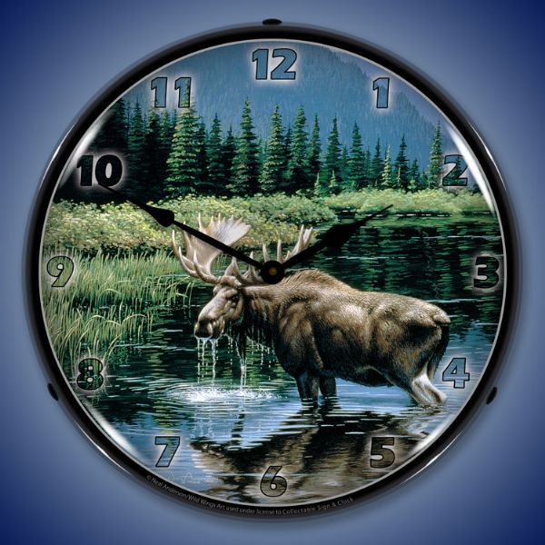 Northern Solitude Moose Lighted 14 Inch Wall Clock - Buy at Lights in the Northern Sky www.lightsinthenorthernsky.com