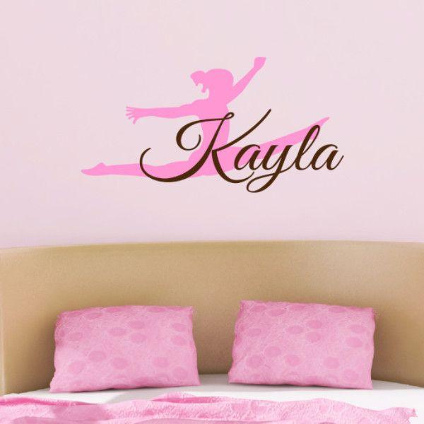 gymnast name wall decal