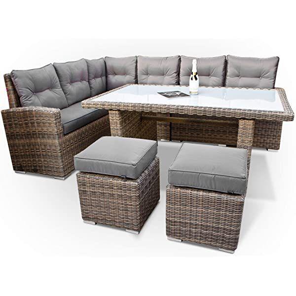 Amazon De Brast Poly Rattan Gartenmobel Essgruppe Lounge Set Sitzgruppe Outdoor Mobel Garten Garnitur Sofa Holid Lounge Mobel Terasse Sitzgruppe Outdoor Mobel