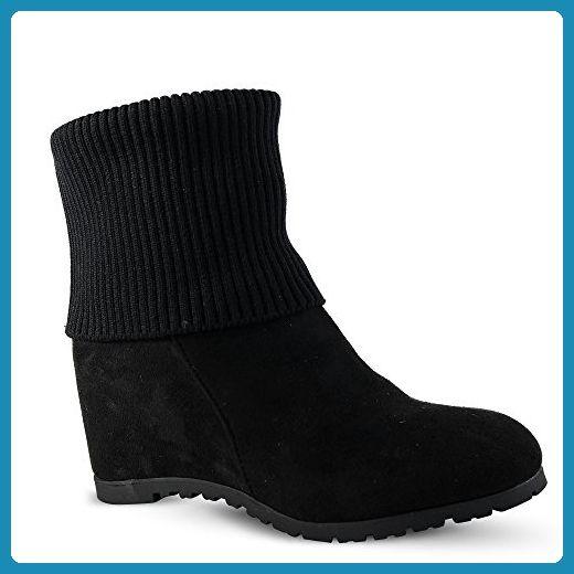 Damen stiefel schwarz mit keilabsatz