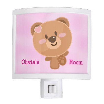 Kid's Night Lite Cute Baby Teddy Bear - kids kid child gift idea diy personalize design
