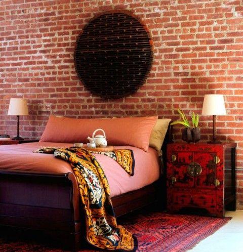 Dormitorios con paredes de ladrillo rec mara pinterest for Dormitorios orientales