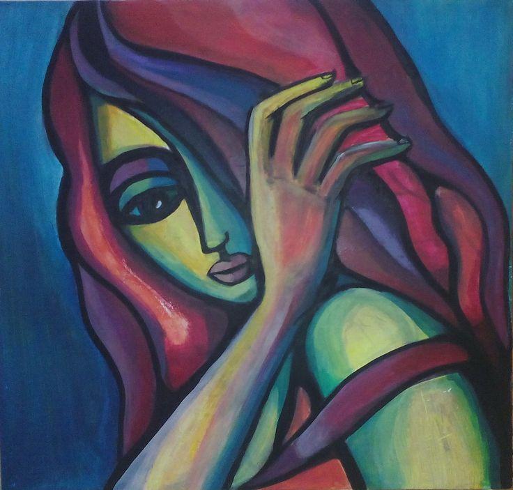 The Girl with Purple hair, acrylic on fiberboard, 60x65 cm by Tatjana Danilovic