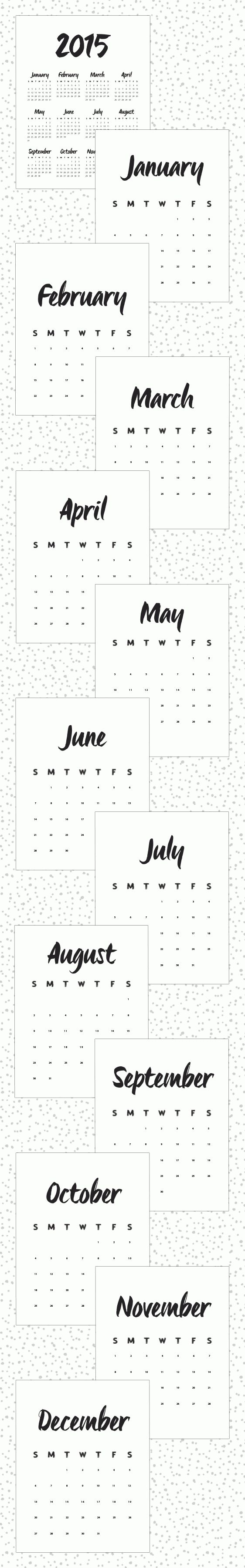Minimalist Calendar 2015 : The best calendar printable ideas on pinterest
