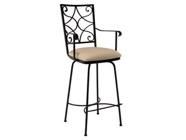 """Shop for Charleston Forge Camino Scroll Swivel Barstool With Arms 30"""", C747, and other Bar and Game Room Stools at Goods Home Furnishings in North Carolina Discount Furniture Stores Outlets. Our counter stools, barstools and chairs are comfortable, stylish, and durable. We also offer a broad selection of colorful frame finishes, fabrics and leathers that are user friendly too."""
