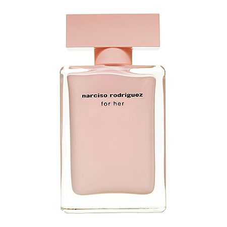 NARCISO RODRIGUEZ for her Eau de Parfum.  Notes: Musk, Iris Powder, Rose Petals, Benzoin Balm.  Style: Sensual. Warm. Pure.