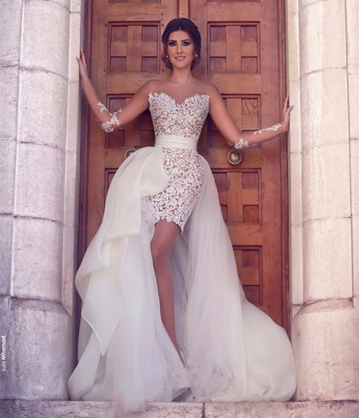O-Neck Long Sleeve Lace With Tulle Detachable Skirt Wedding Dress