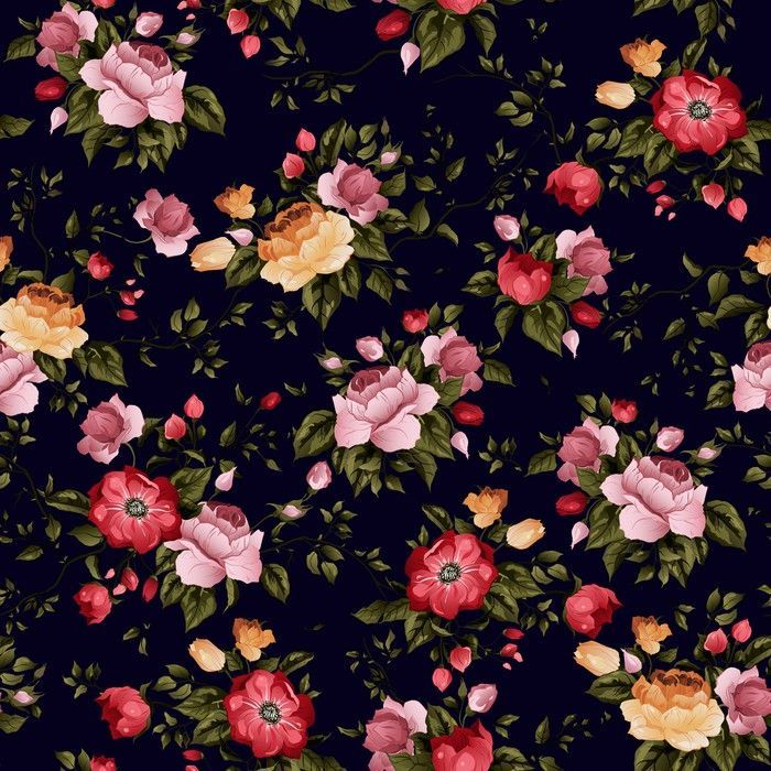 Seamless Vector Floral Pattern With Roses On Black Background Wall Mural Pixers We Live To Change Peony Illustration Photoshop Wallpapers Black Backgrounds