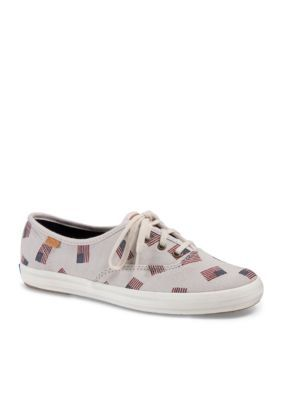 Keds Cream Champion Original X Flag Print Shoes - Available in Extended Sizes
