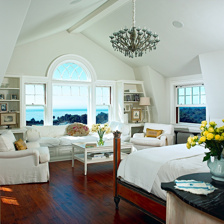 spectacular bedroom:  ocean front; huge sitting area; bookcases; wood floors