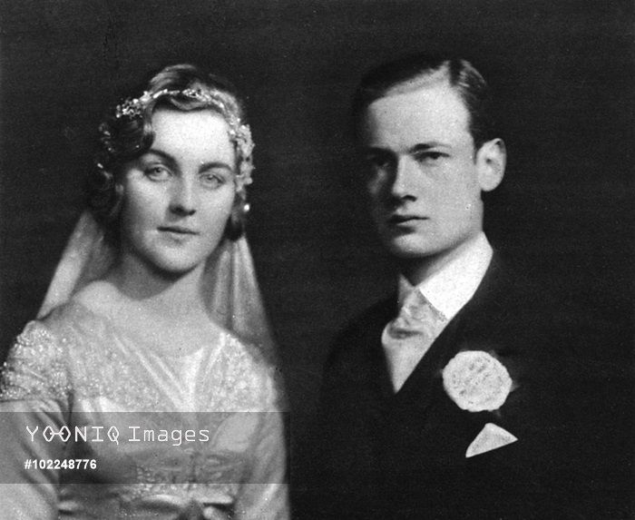 The marriage of Mr Bryan Guinness to the Hon. Diana Mitford (1910 - 2003), later Lady Mosley in January 1929. The wedding took place at St. Margaret's, Westminster.