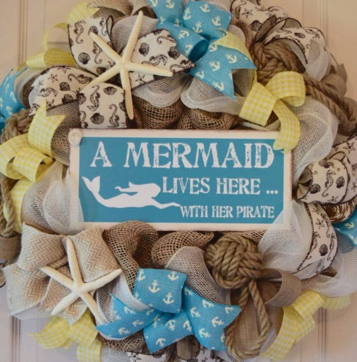 Beach Turquoise and Yellow Burlap and Mesh Wreath; Mermaid and Her Pirate; Nautical Beach Shore Wreath; Beach Shore House Wreath Beach Decor by ChewsieCreations on Etsy
