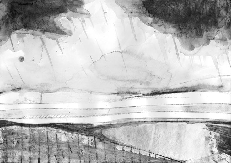 "Saatchi Online Artist: Shaun Michael Jones; Graphite 2013 Drawing ""Rain Over The Peak District I"""