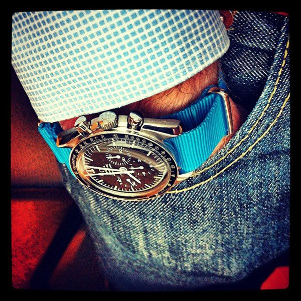 Omega Speedmaster on a blue NATO strap