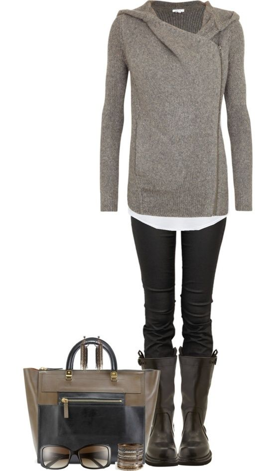 Love this whole look. Love the asymmetric sweater. Black skinnies and boots.