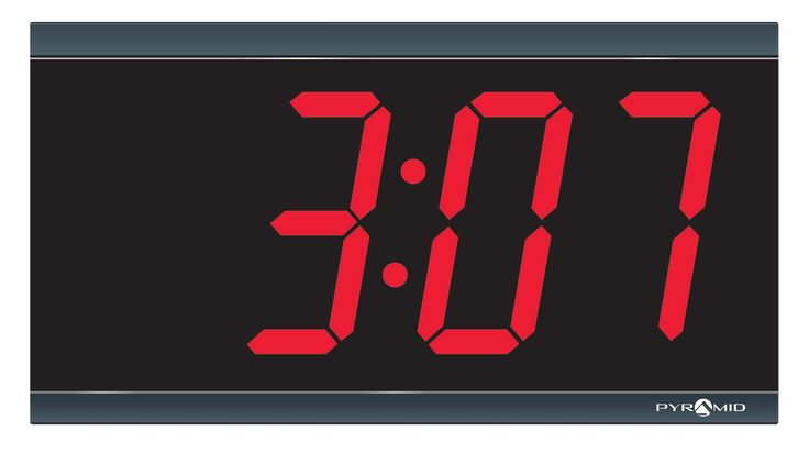 """Pyramid Extra Large 4"""" numeral Red LED Digital Clock, 4-Digit, 110V, 6' cord, Made in USA (DIG-4B)"""