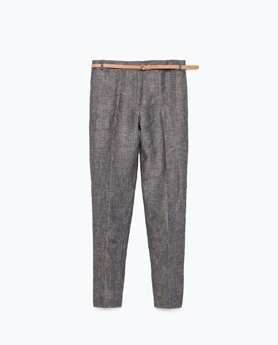Image 6 of LINEN TROUSERS WITH BELT from Zara