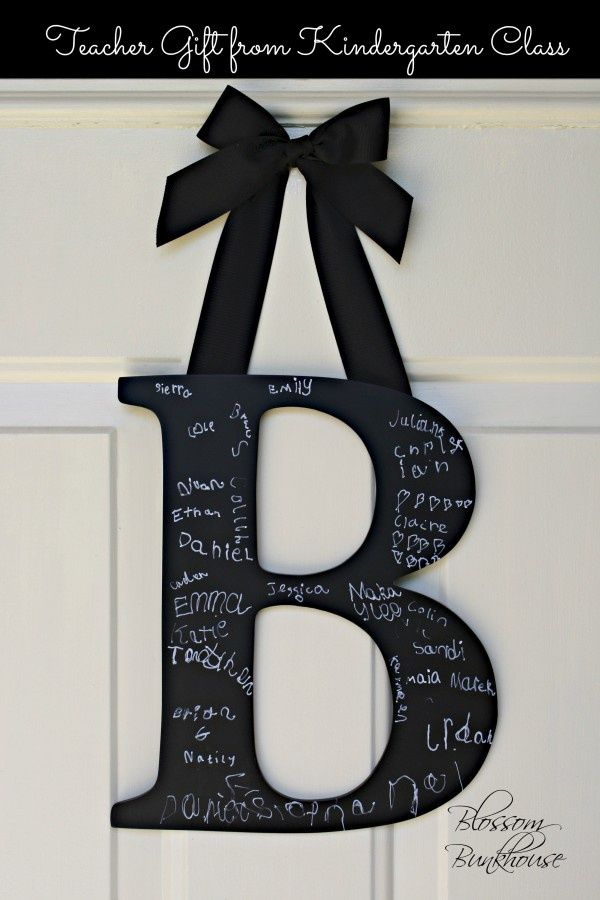 Teacher decor DIY-chalkboard paint letter. On the first day of school have every student write their name on the letter and display it on the door :)