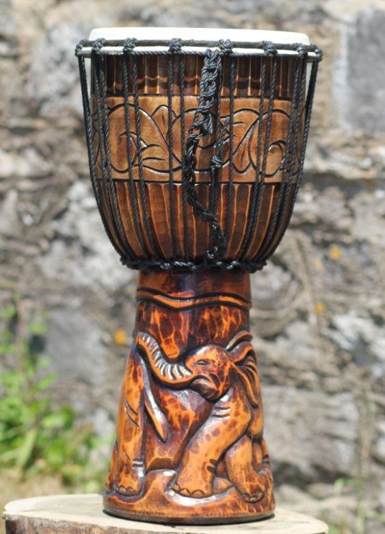 Fairtrade 50cm Heavily Carved Elephant Wooden Djembe - Bongo Drum | Fair Trade Gift Store | Siiren