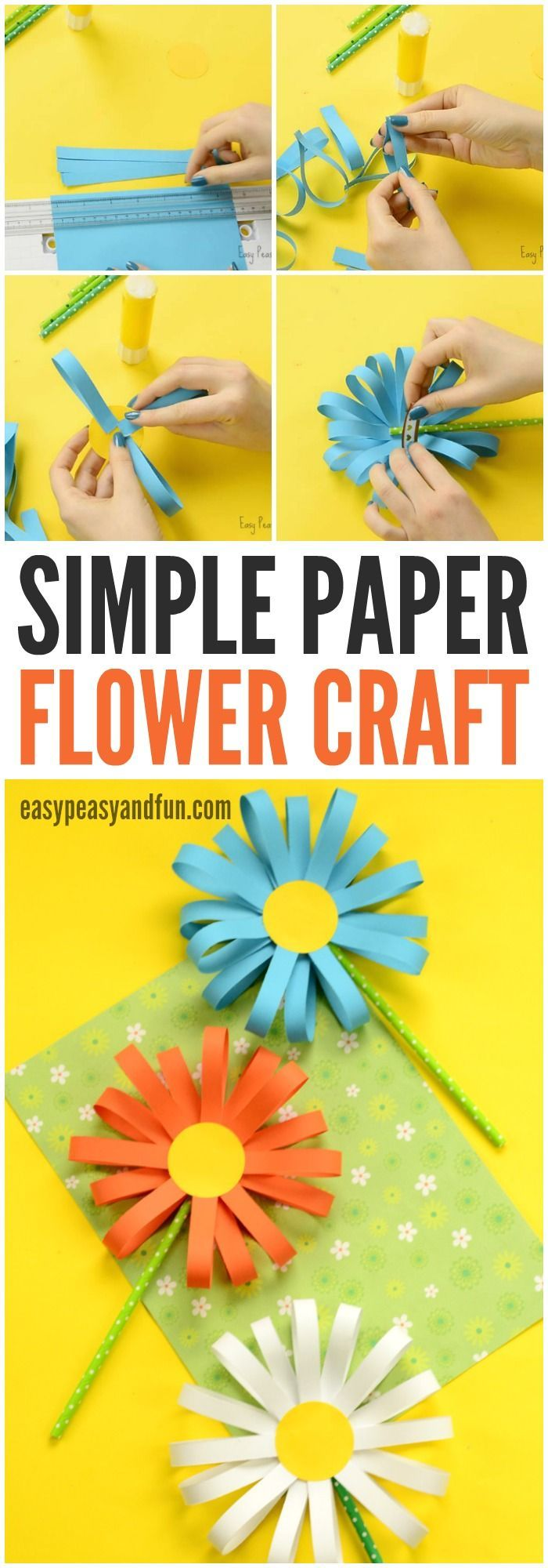 Craft Happy thinks this Simple Paper Flower Craft is super cute. A great springtime craft for older kids!
