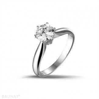 Platina Diamanten Ringen - 1.00 caraat diamanten solitaire ring in platina