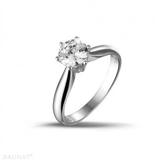 White Gold Diamond Engagement Rings - 1.00 carat solitaire diamond ring in white gold