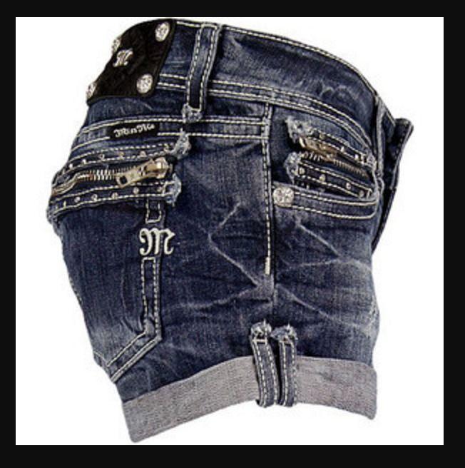 MISS ME JEANS SALE Buckle Cuffed Zipper Denim Jean Stretch Shorts 26*READ DESCR #MissMe #Shorts