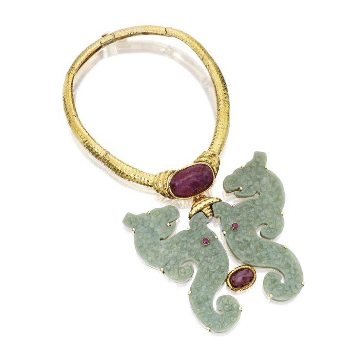 18 Karat Gold, Carved Jade and Ruby Pendant-Necklace, David Webb c.1955 FORMERLY FROM THE COLLECTION OF MARTHA GRAHAM | lot | Sotheby's