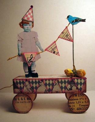 Fairy Banner & Bird 3D Altered Folk aRt Collage Artisan Vtg Doll Pull Toy ooak | eBay
