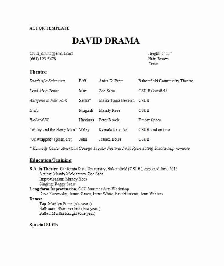 25 theatre resume template google docs in 2020 resume