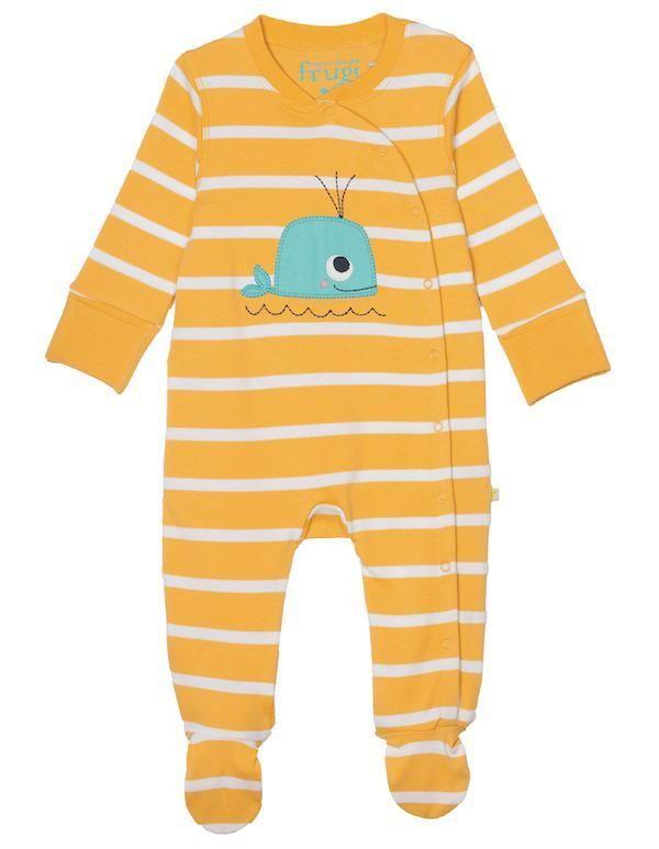 Pyjama, gelb/weiss gestreift mit Wal