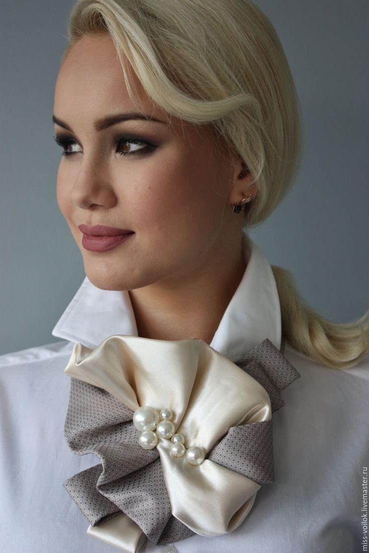 """Купить Украшение """"Жемчужная вуаль"""" - бежевый, платок, галстук, украшение, украшение на шею, подарок"""