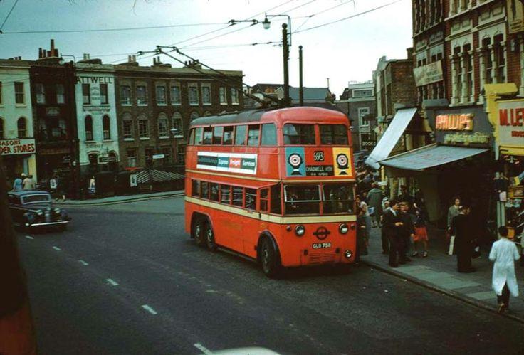 Trolley Bus / Ilford, London, England (1958 year)