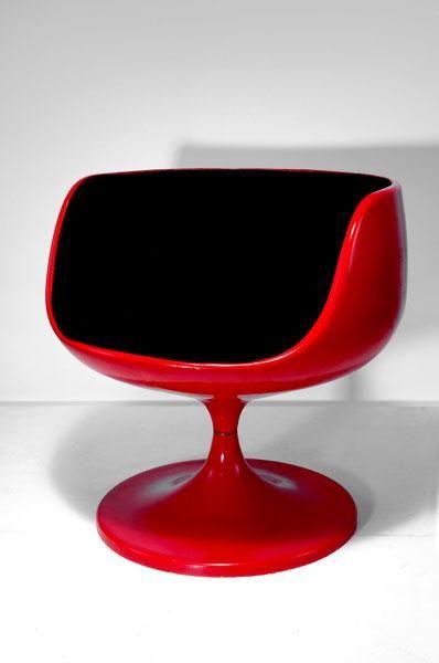 Eero Aarnio; Plastic and Fiberglass 'Cognac' Easy Chair for Asko, 1967.