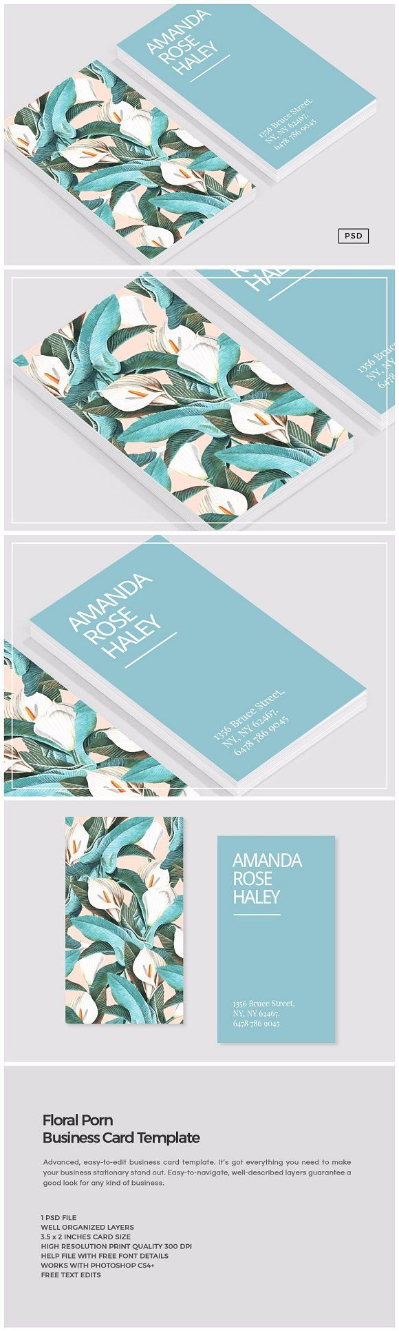 Floral Porn Business Card Template by The Design Label on @creativemarket
