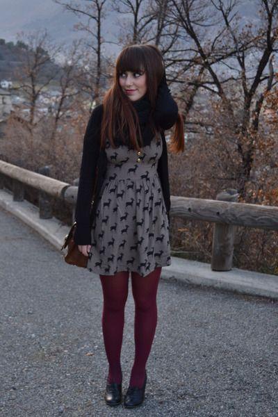 tan modcloth dress black ovs shoes kleidung mode inspo outfit