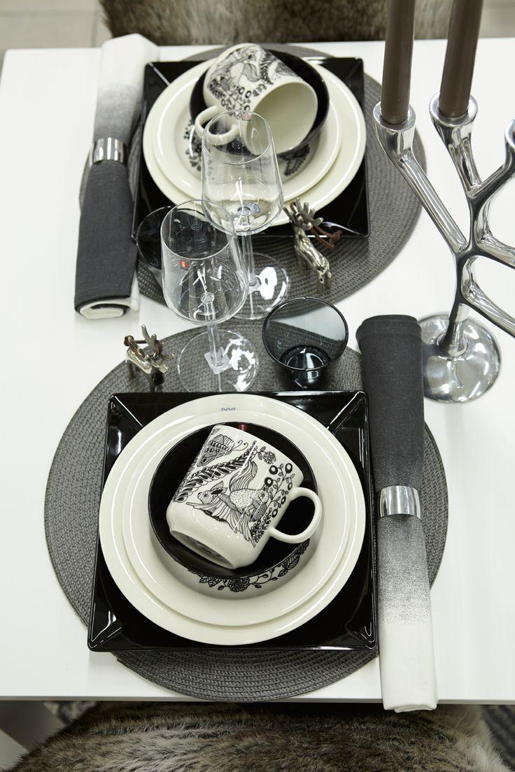 #kodin1 #joulu #talvi #mustavalkoinen #kattaus #astiat